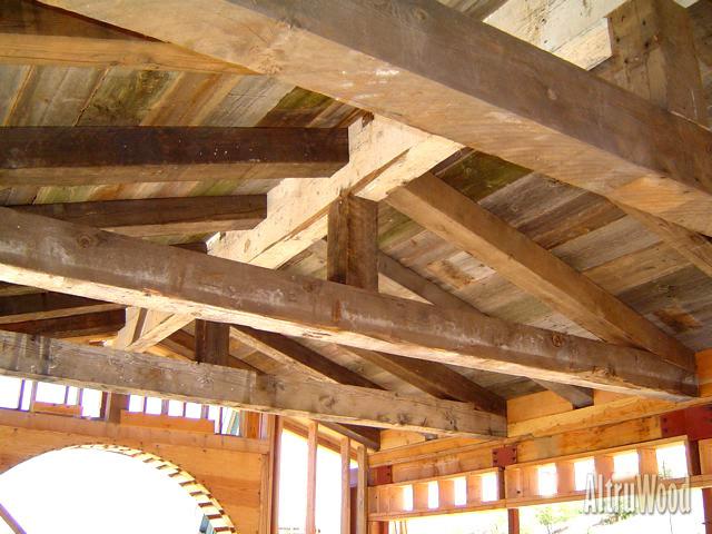 Antique rough sawn wood beams old barn elmwood